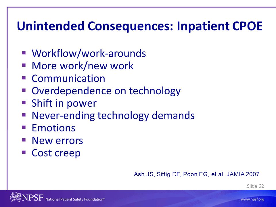 Unintended Consequences: Inpatient CPOE