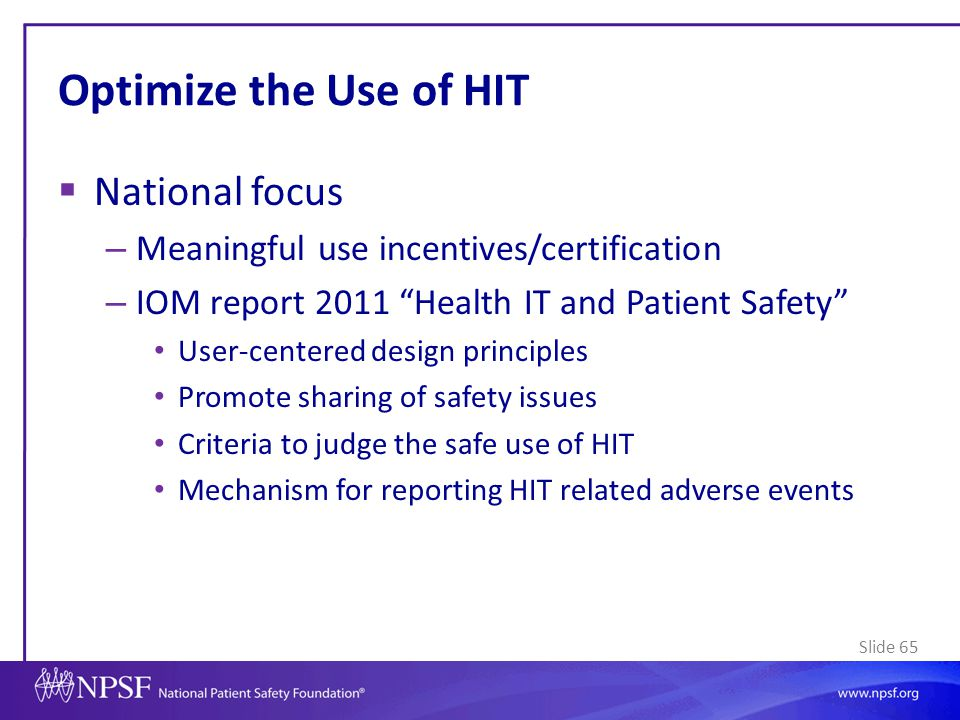 Optimize the Use of HIT National focus