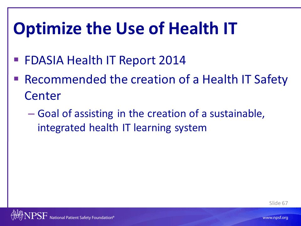 Optimize the Use of Health IT