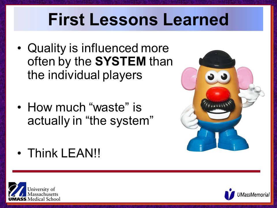 First Lessons Learned Quality is influenced more often by the SYSTEM than the individual players. How much waste is actually in the system