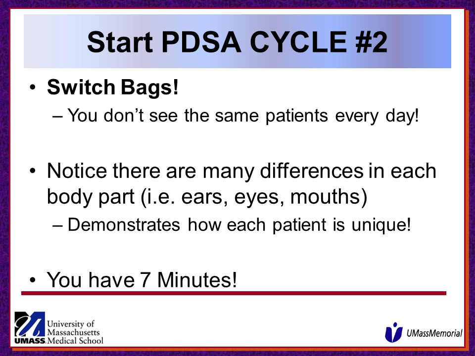 Start PDSA CYCLE #2 Switch Bags!