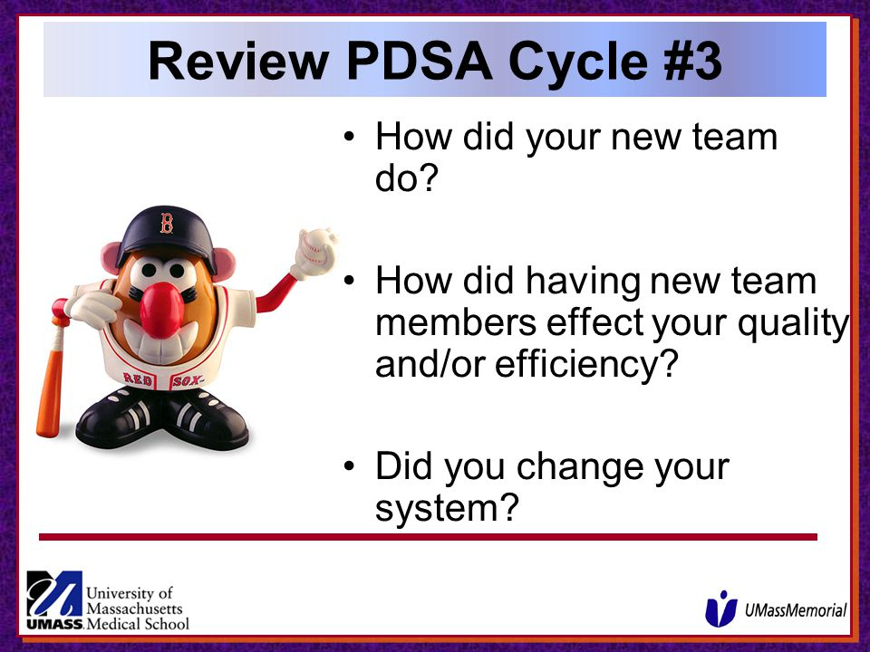 Review PDSA Cycle #3 How did your new team do