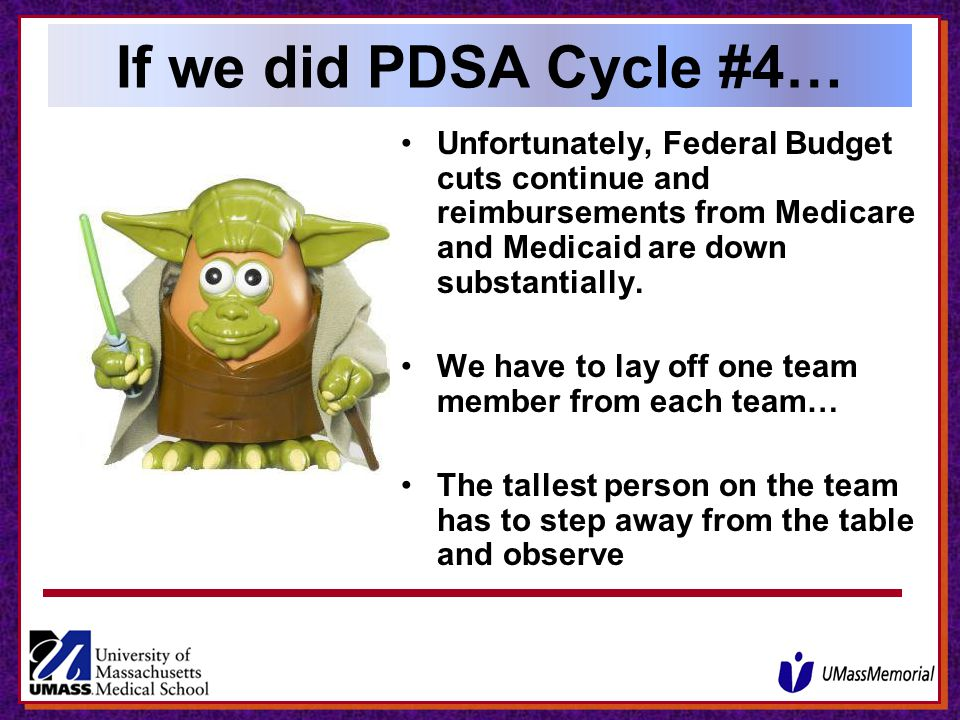 If we did PDSA Cycle #4… Unfortunately, Federal Budget cuts continue and reimbursements from Medicare and Medicaid are down substantially.