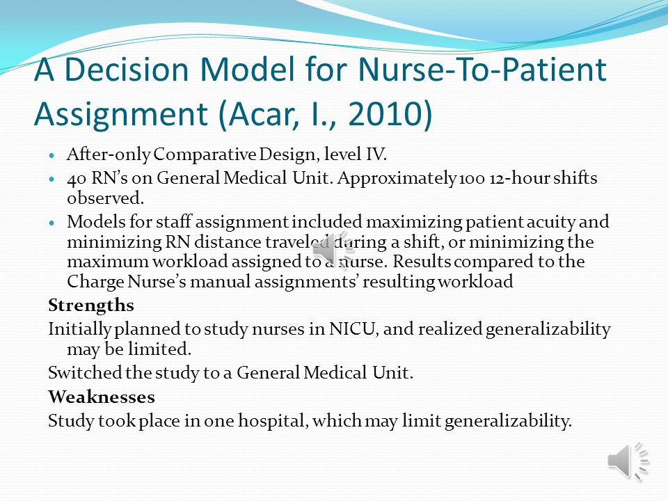 A Decision Model for Nurse-To-Patient Assignment (Acar, I., 2010)