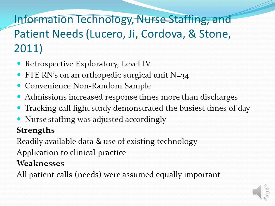Information Technology, Nurse Staffing, and Patient Needs (Lucero, Ji, Cordova, & Stone, 2011)