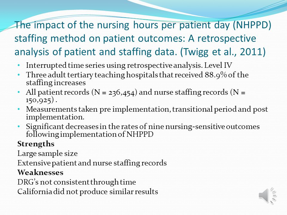 The impact of the nursing hours per patient day (NHPPD) staffing method on patient outcomes: A retrospective analysis of patient and staffing data. (Twigg et al., 2011)