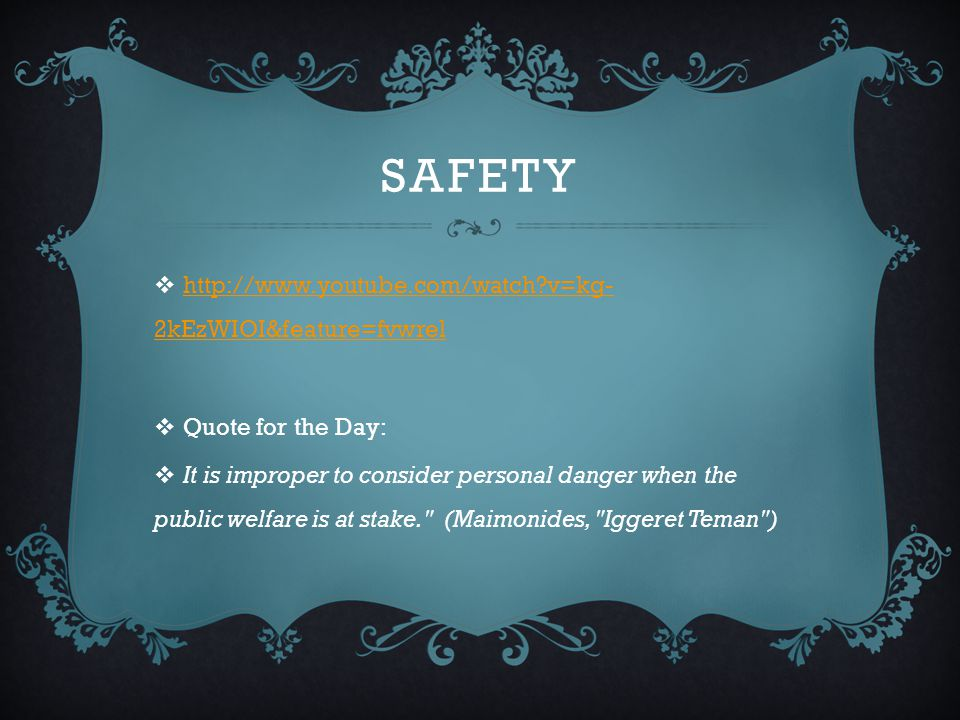 safety http://www.youtube.com/watch v=kg-2kEzWIOI&feature=fvwrel