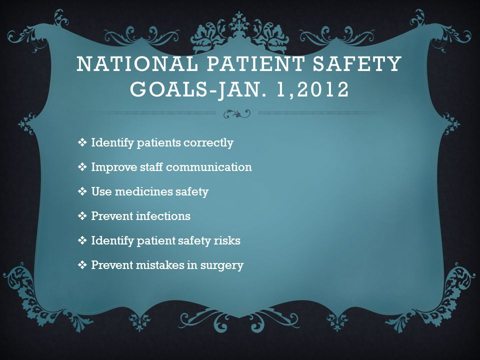 National Patient Safety Goals-Jan. 1,2012