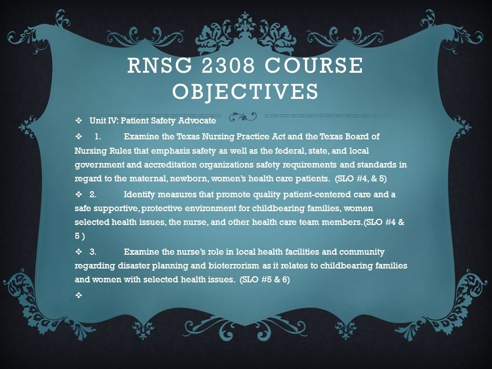 Rnsg 2308 Course Objectives