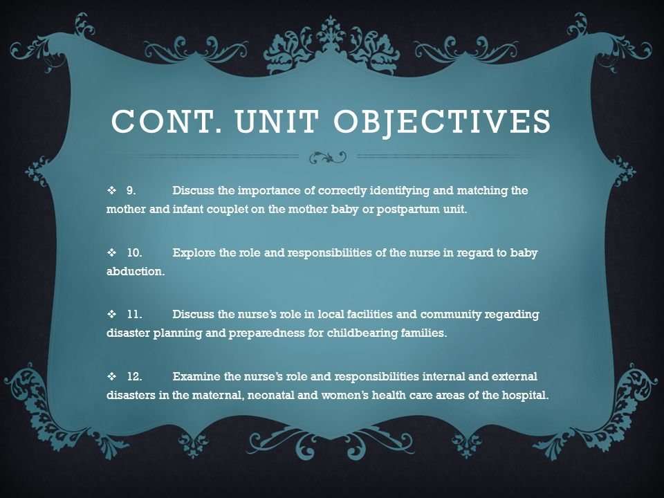 Cont. Unit Objectives