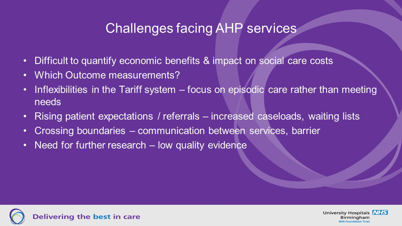 Challenges facing AHP services