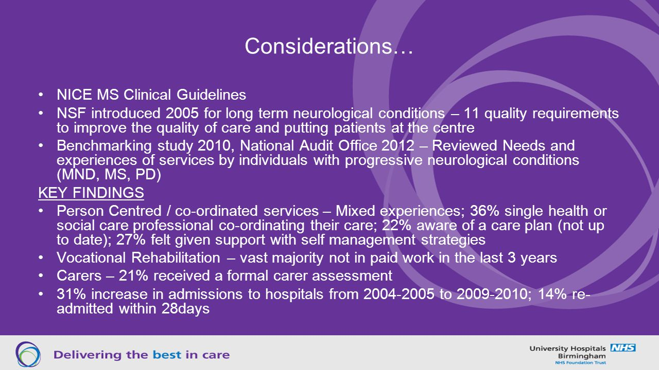 Considerations… NICE MS Clinical Guidelines