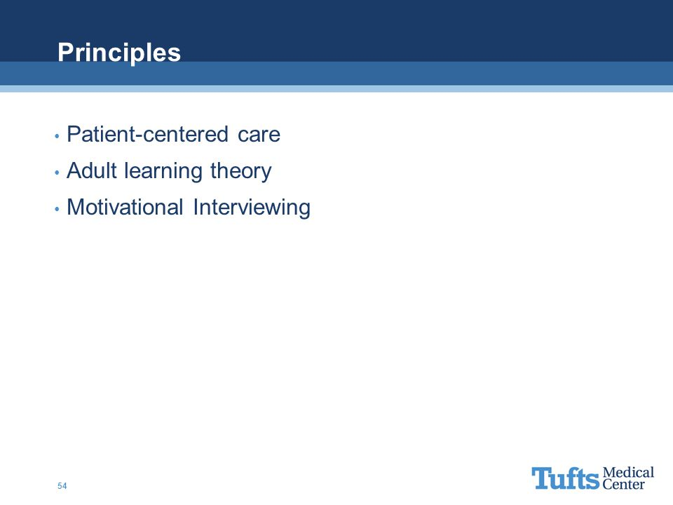 Principles Patient-centered care Adult learning theory