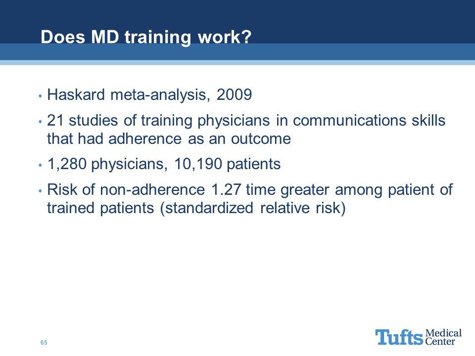 Does MD training work Haskard meta-analysis, 2009