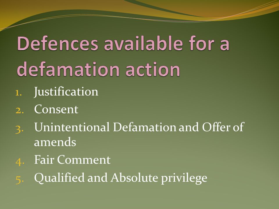 Defences available for a defamation action