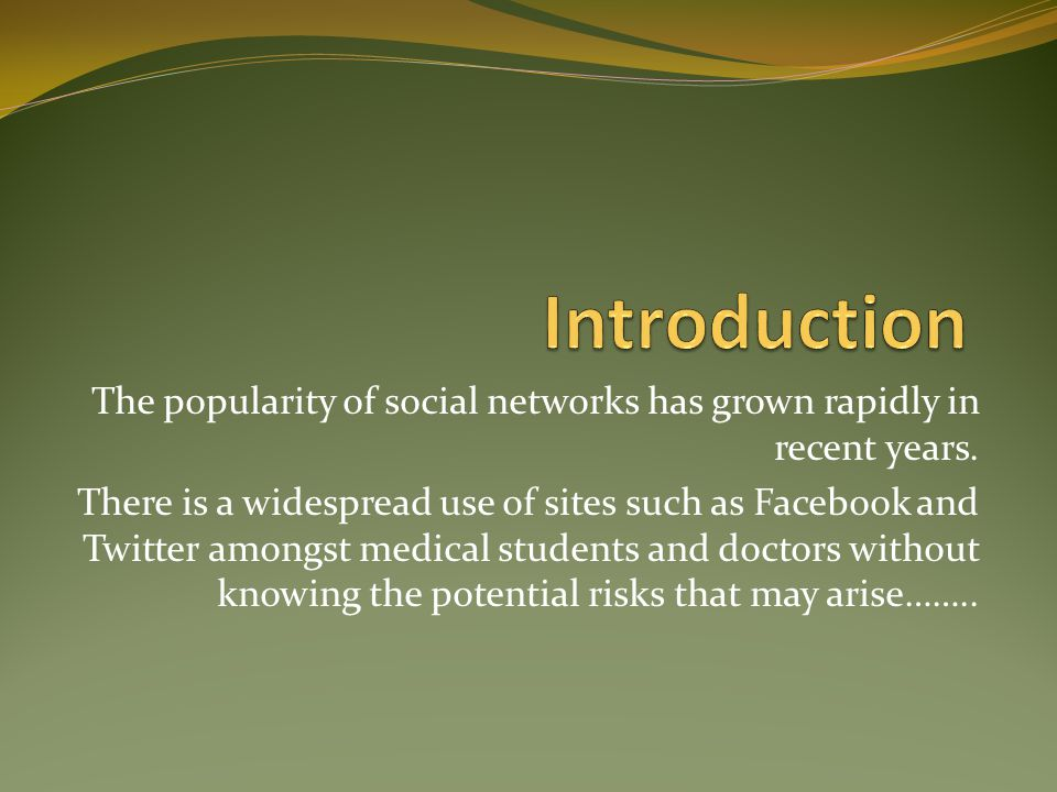 Introduction The popularity of social networks has grown rapidly in recent years.
