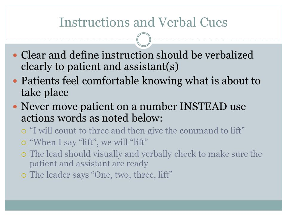 Instructions and Verbal Cues