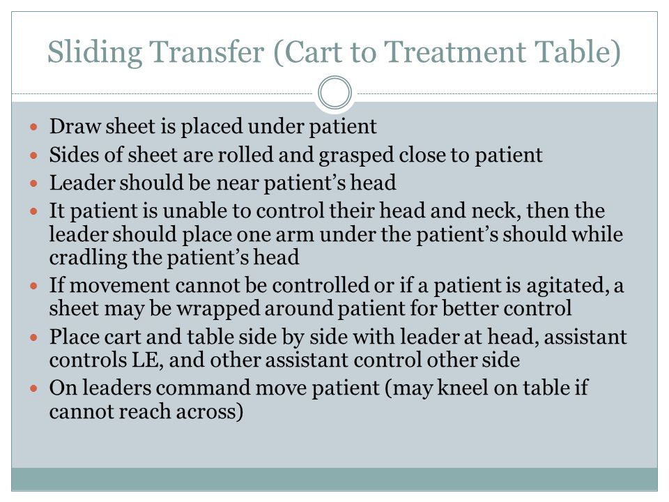 Sliding Transfer (Cart to Treatment Table)