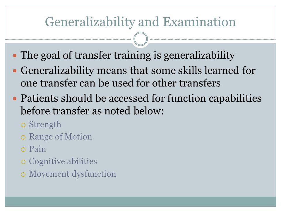 Generalizability and Examination