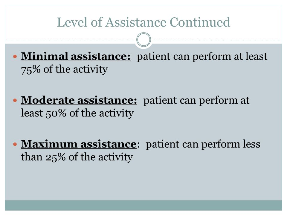 Level of Assistance Continued