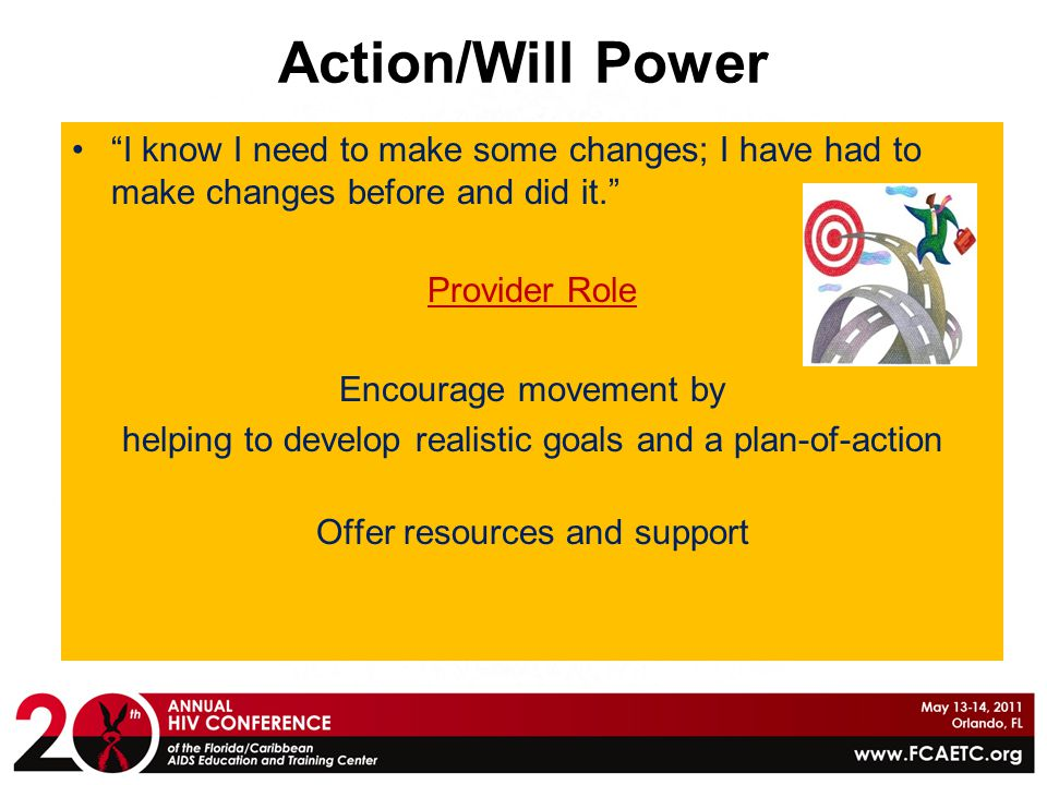 Action/Will Power I know I need to make some changes; I have had to make changes before and did it.