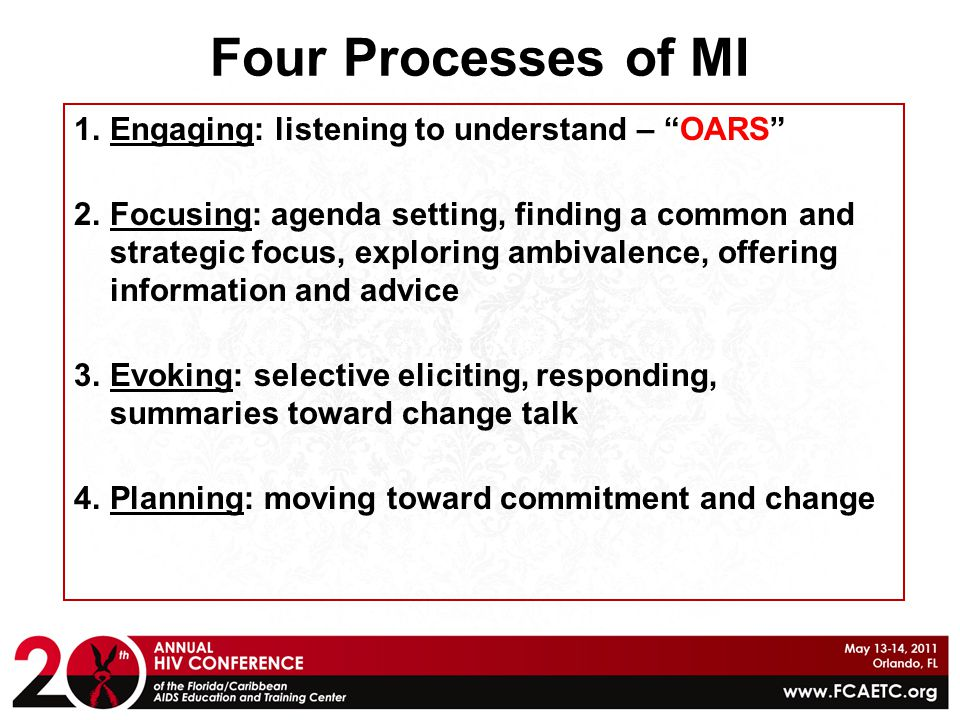 Four Processes of MI Engaging: listening to understand – OARS