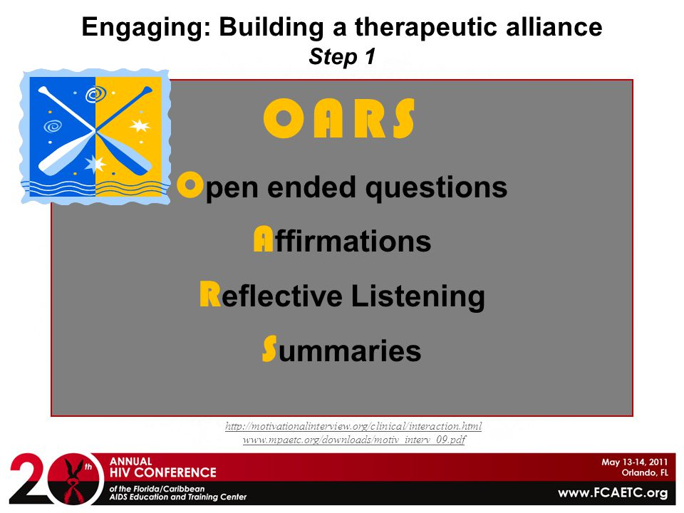 Engaging: Building a therapeutic alliance Step 1