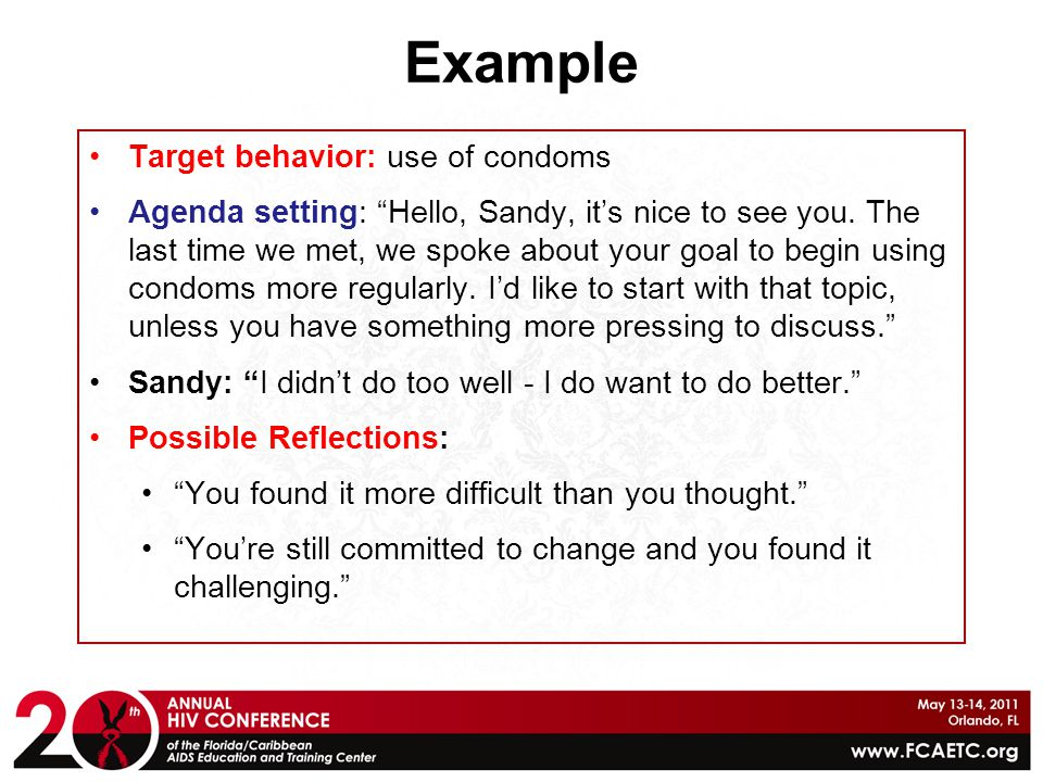 Example Target behavior: use of condoms
