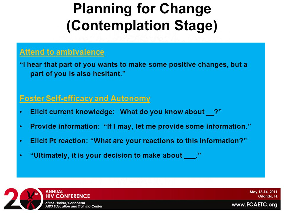 Planning for Change (Contemplation Stage)
