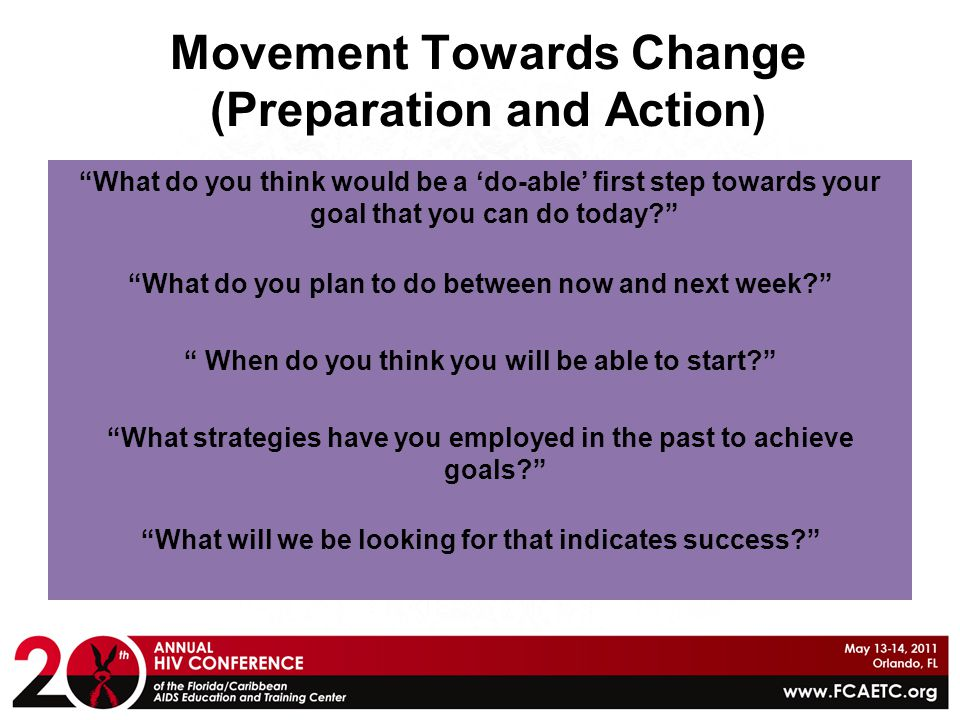 Movement Towards Change (Preparation and Action)