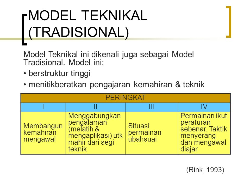 MODEL TEKNIKAL (TRADISIONAL)
