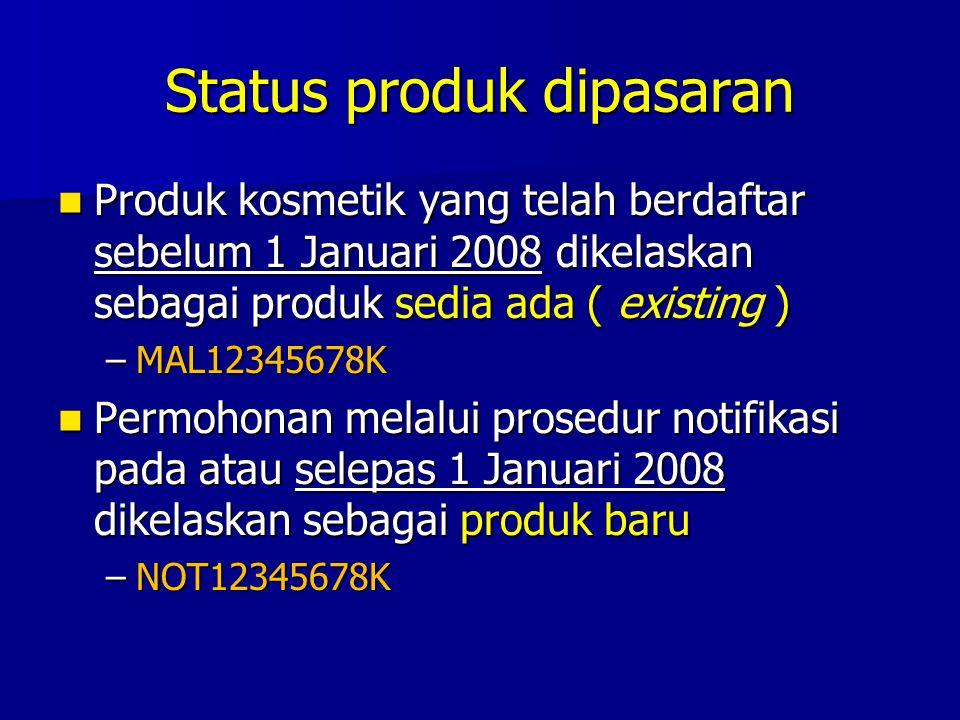 Status produk dipasaran