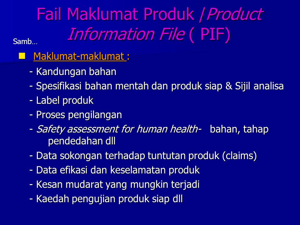 Fail Maklumat Produk /Product Information File ( PIF)