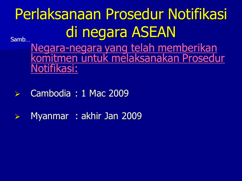 Perlaksanaan Prosedur Notifikasi di negara ASEAN