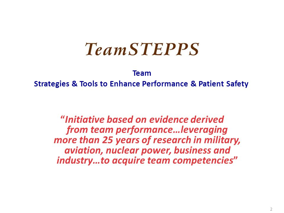 Team Strategies & Tools to Enhance Performance & Patient Safety.