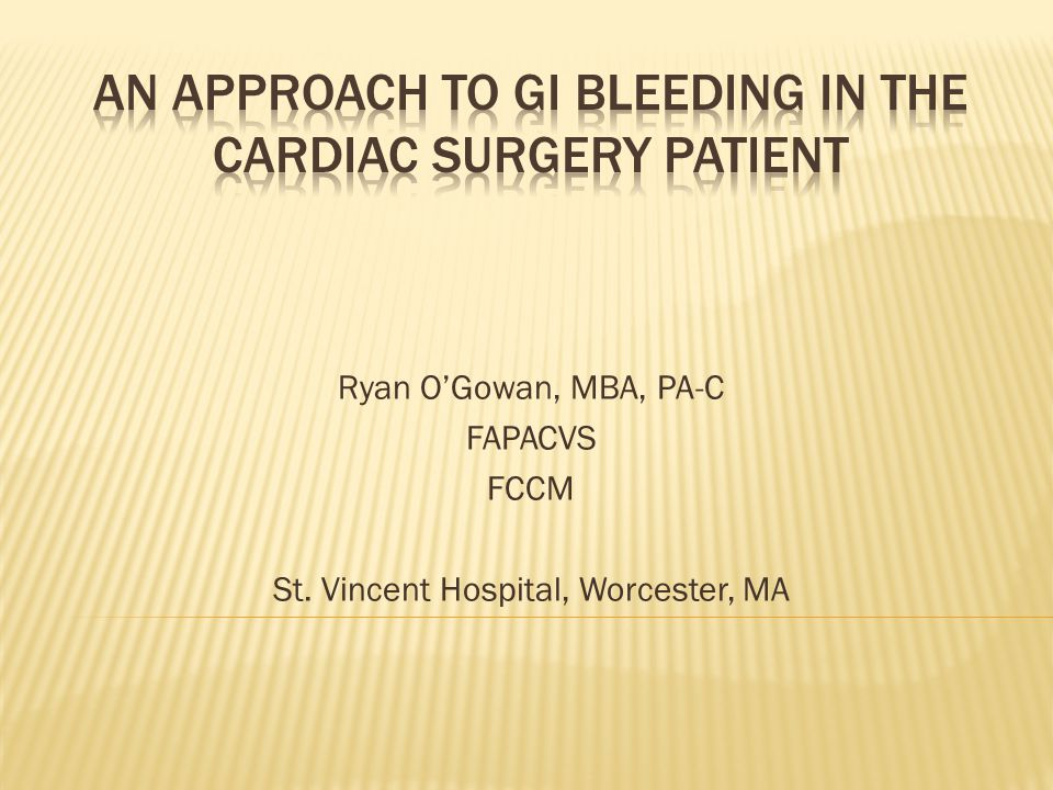 An Approach to GI Bleeding in the Cardiac Surgery patient
