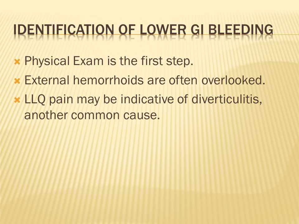 Identification of lower GI bleeding