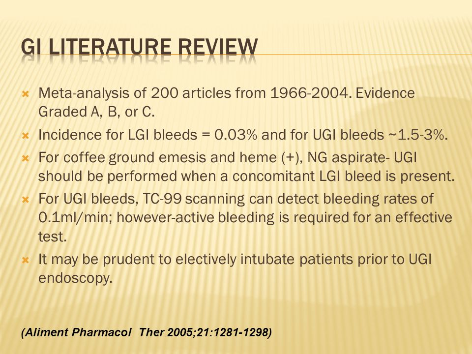 GI literature review Meta-analysis of 200 articles from 1966-2004. Evidence Graded A, B, or C.