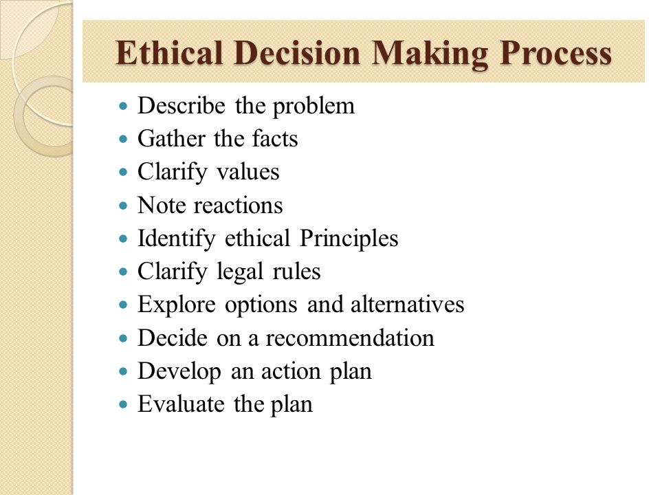 Ethical Decision Making Process