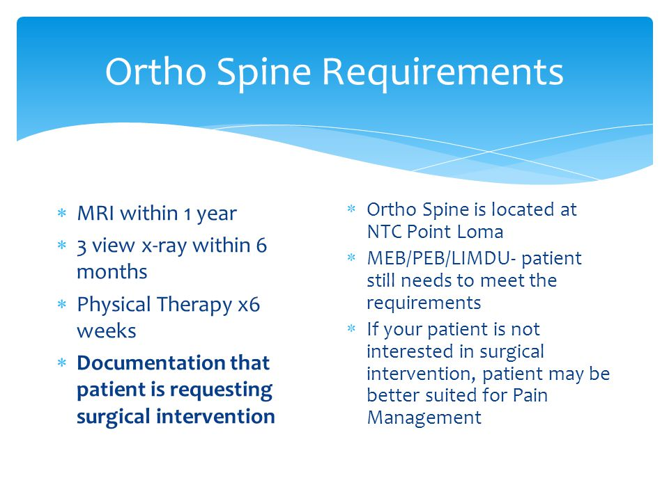 Ortho Spine Requirements