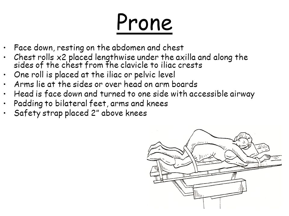 Prone Face down, resting on the abdomen and chest