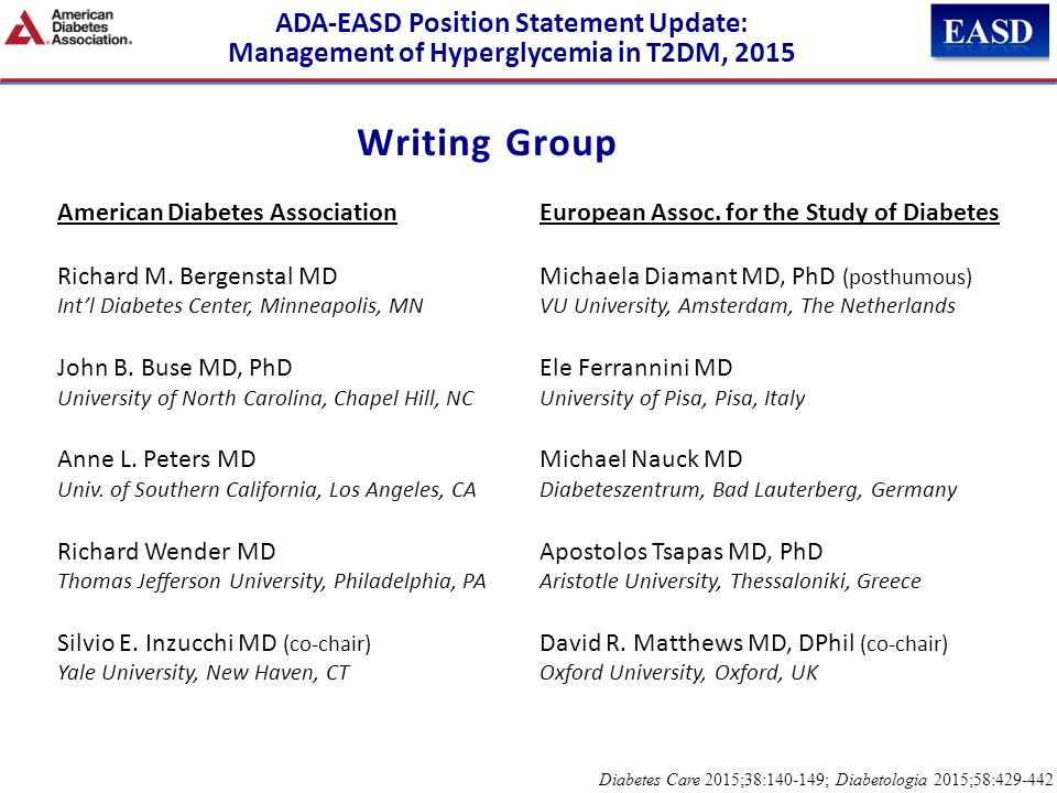 Writing Group ADA-EASD Position Statement Update: