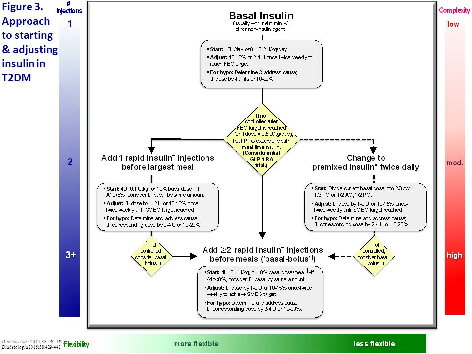 Figure 3. Approach to starting & adjusting insulin in T2DM