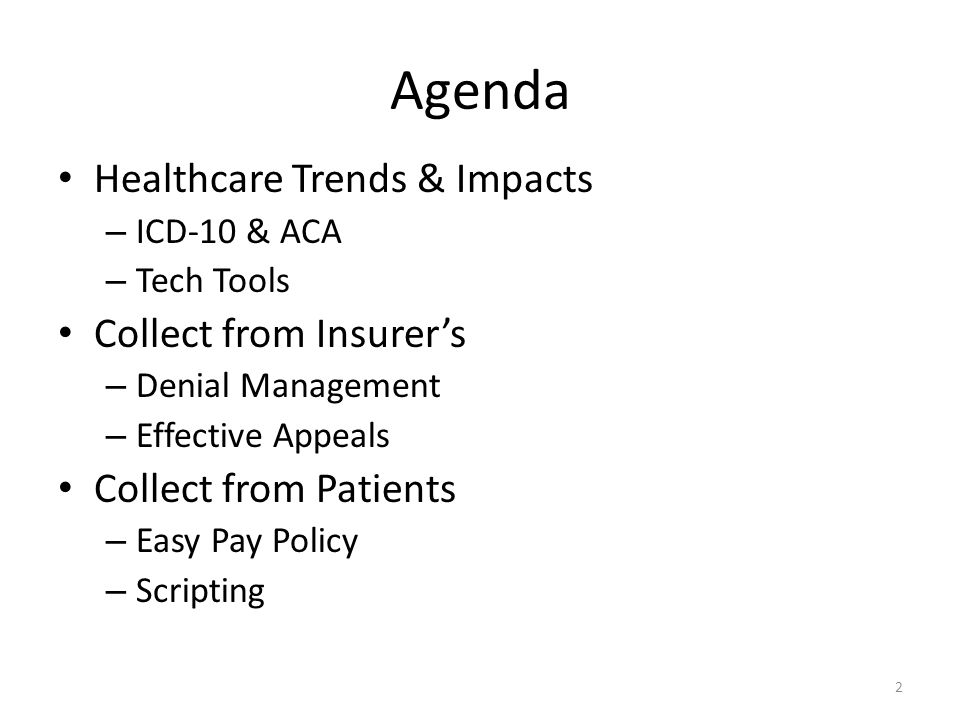 Agenda Healthcare Trends & Impacts Collect from Insurer's