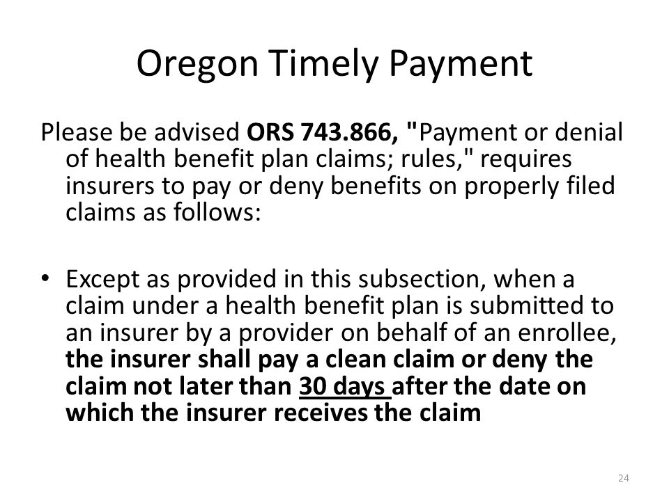Oregon Timely Payment