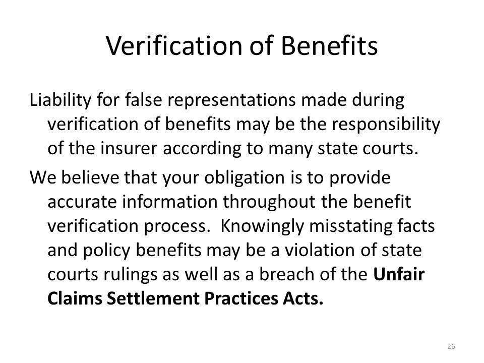 Verification of Benefits