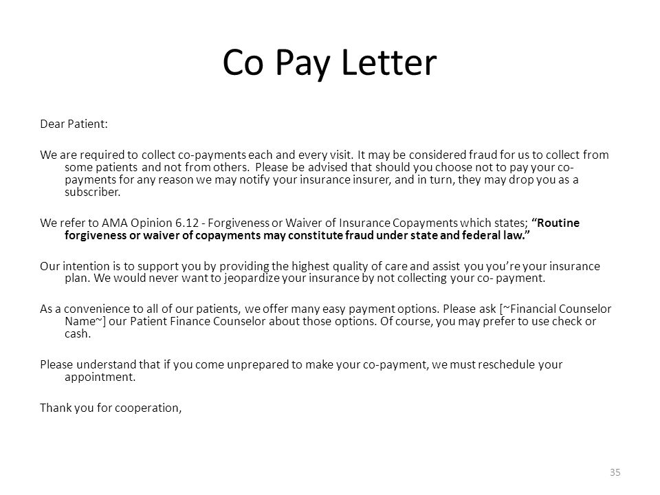 Co Pay Letter