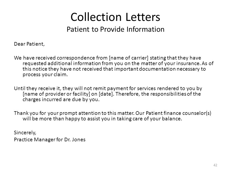 Collection Letters Patient to Provide Information