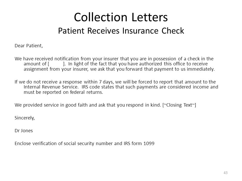 Collection Letters Patient Receives Insurance Check
