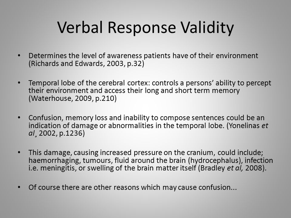 Verbal Response Validity